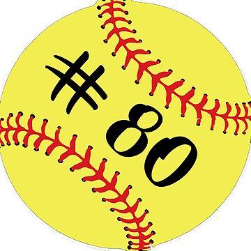 Softball Player Jersey No 80 Back Number #80 Ball Sport Sticker Gift by theshirtinator