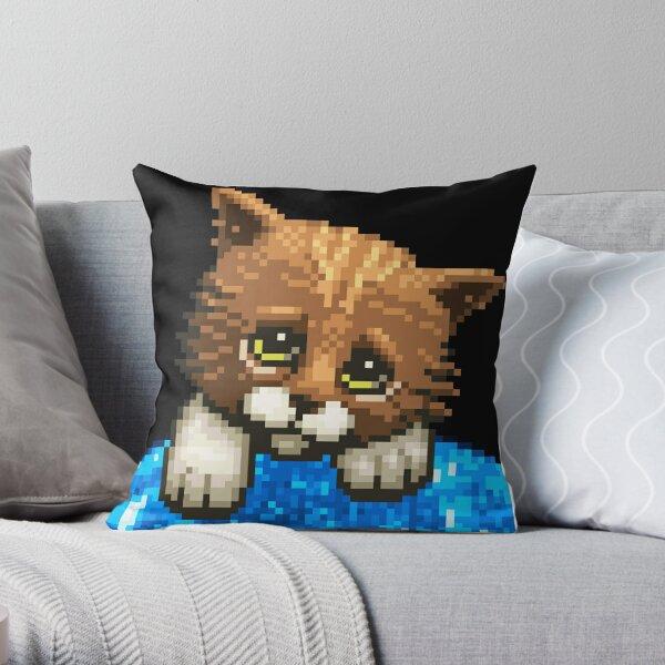 AQUA KITTY - Sad Cat Throw Pillow