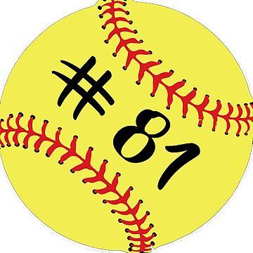 Softball Player Jersey No 81 Back Number #81 Ball Sport Sticker Gift by theshirtinator