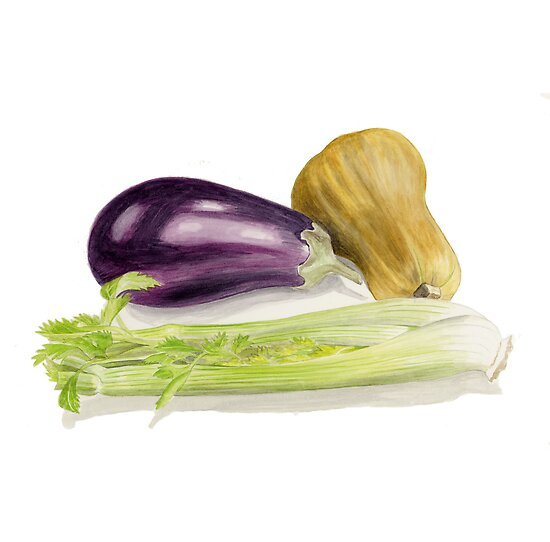 Aubergine, Squash and Celery by Maureen Sparling
