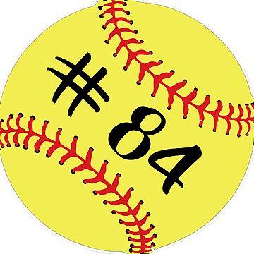Softball Player Jersey No 84 Back Number #84 Ball Sport Sticker Gift by theshirtinator