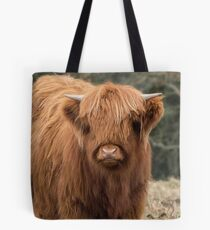 Young Scottish Highland cow Tote Bag