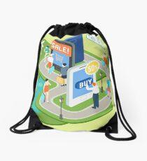 Isometric Virtual Shopping Concept Drawstring Bag