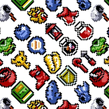 Legend of Zelda A Link to the Past / items 2 / pattern / white by danteartist