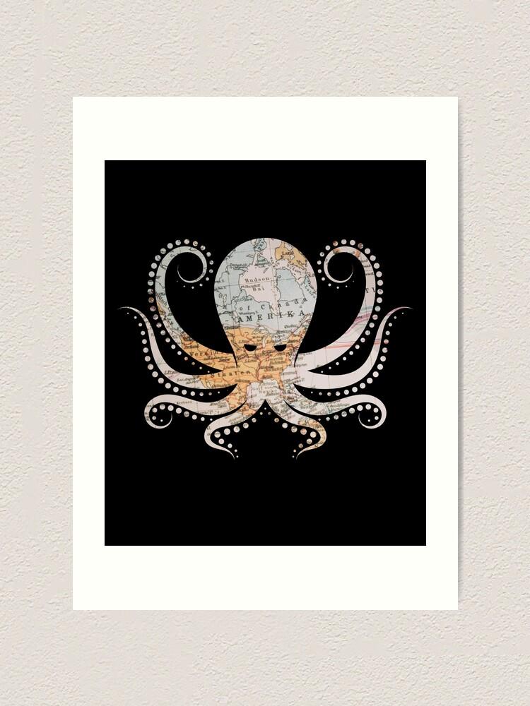 Octopus Kraken \u0026 Cthulhu World Map T,Shirt