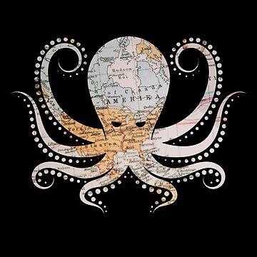 Octopus Kraken & Cthulhu World Map T-Shirt by JohnPhillips