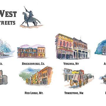 USA Wild West Towns Main Streets - Telluride, Breckenridge, Aspen and Co. - Retro Vintage Poster by artshop77