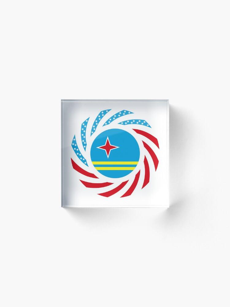 Alternate view of Aruban American Multinational Patriot Flag Series Acrylic Block