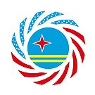 Aruban American Multinational Patriot Flag Series by Carbon-Fibre Media