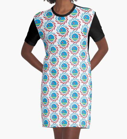 Aruban American Multinational Patriot Flag Series Graphic T-Shirt Dress