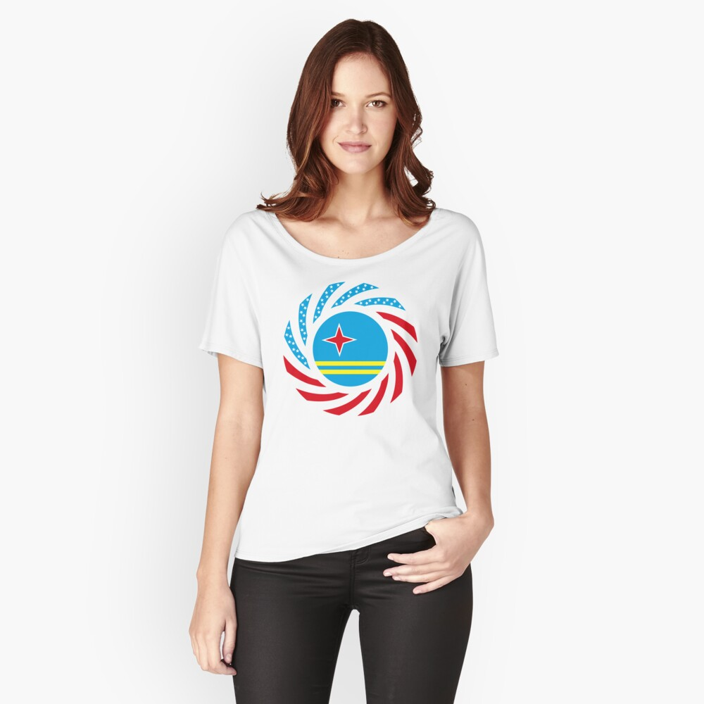 Aruban American Multinational Patriot Flag Series Relaxed Fit T-Shirt