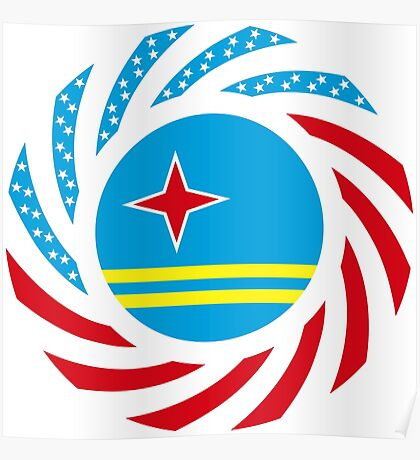 Aruban American Multinational Patriot Flag Series Poster