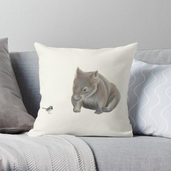 Wombat and Blue Wren Throw Pillow