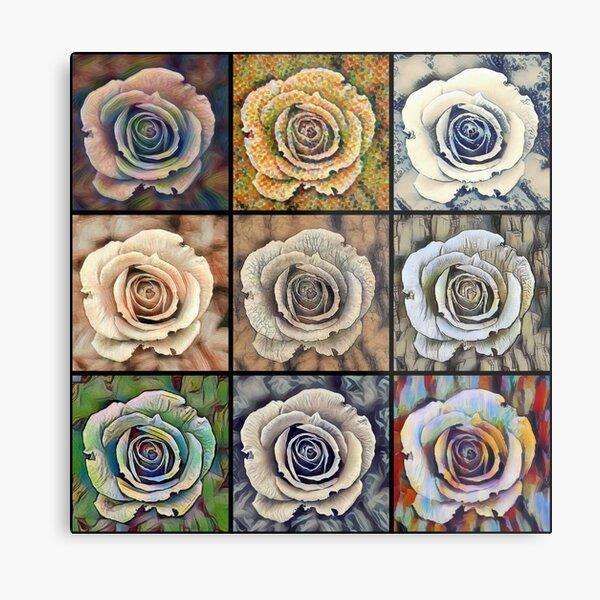 Rose Floral Pop Art Metal Print