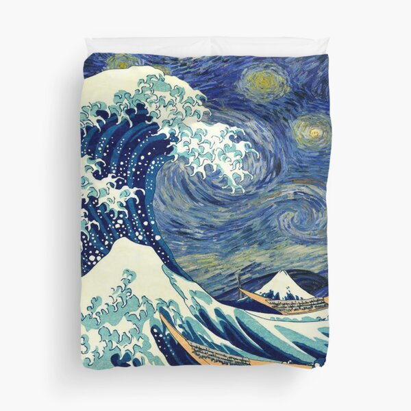 Starry Night The Great Wave Off Kanagawa Duvet Cover