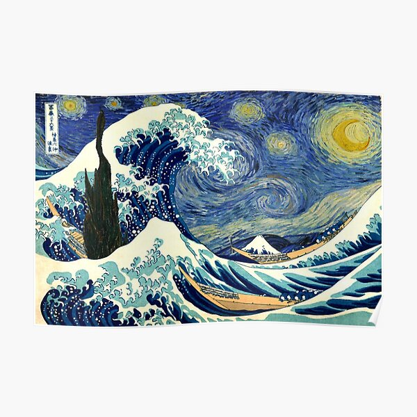 Starry Night The Great Wave Off Kanagawa Poster