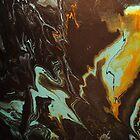«Pintura acrílica fluida para arte, verter 3 - Color negro, naranja y turquesa mezclado» de PIPAArtHomeDeco