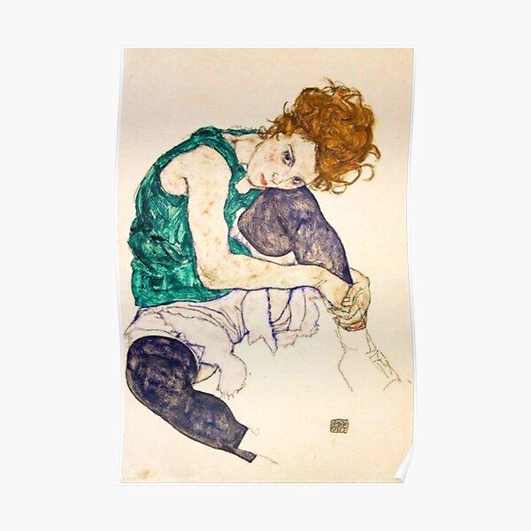 Egon Schiele Sentado Mujer Póster