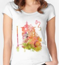 Spirited Away Bath House Watercolor Women's Fitted Scoop T-Shirt