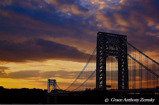 George Washington Bridge Silhouette by Grace Anthony Zemsky