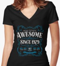 40th Birthday Gift Awesome Since 1979 Fitted V-Neck T-Shirt