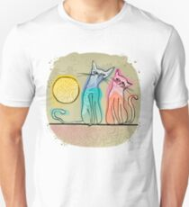cute cats in love sitting on a roof Unisex T-Shirt