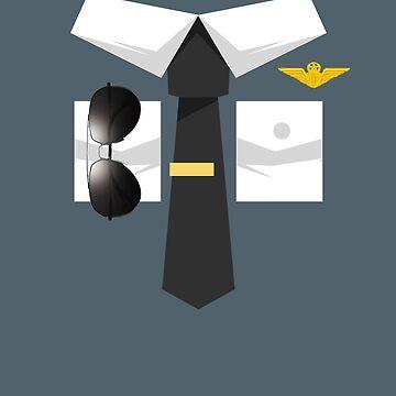 Airplane Pilot Uniform Design | Halloween Captain Art by melsens