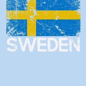 Swedish Flag Design | Vintage Made In Sweden Gift by melsens
