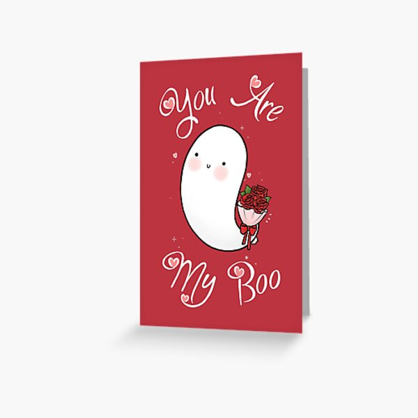 Cute Ghost You Are My Boo Valentines Day Greeting Card