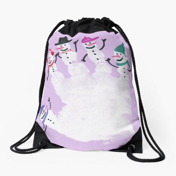 #snowman, #purple, #violet, #illustration, #fun, #design, #art, #cute Drawstring Bag