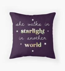 She walks in starlight in another world Throw Pillow