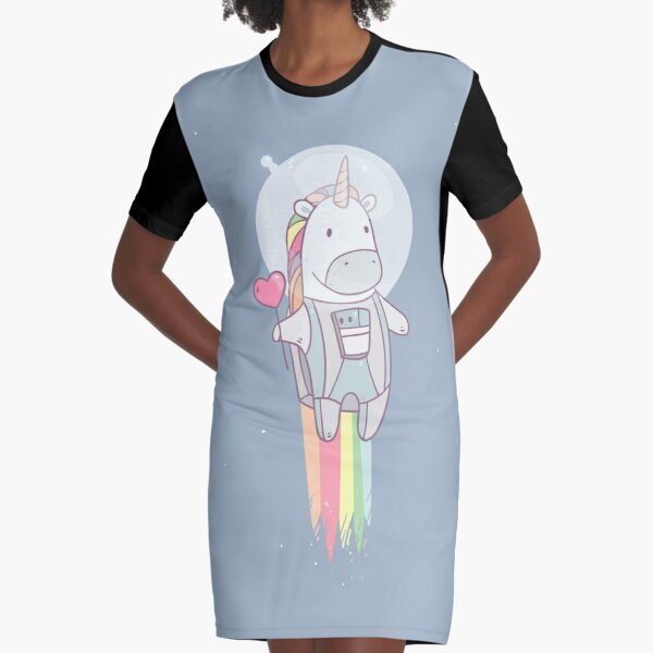 Space Unicorn! Graphic T-Shirt Dress