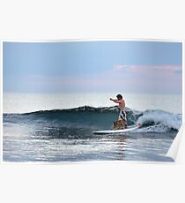 Man And Dog Surfing, Perth, Western Australia. Poster