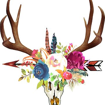 Boho Hirsch-Schädel + Horn-Aquarell-Blumen von PixDezines