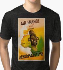 Vintage Travel Posters France -  Air France - Aeromaritime Tri-blend T-Shirt