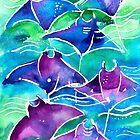 Manta Ray Watercolor Painting by EveiArt