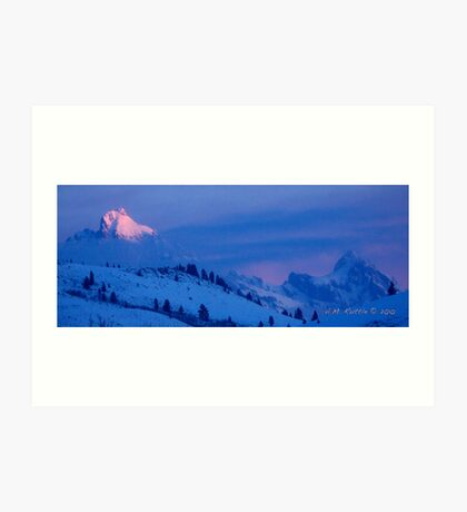 Teton Morning Blues (and Pinks) Art Print
