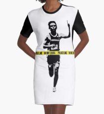 Banksy Marathon Runner Police Line Graphic T-Shirt Dress
