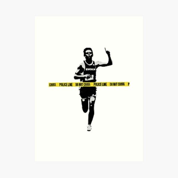 Banksy Marathon Runner Police Line Lámina artística