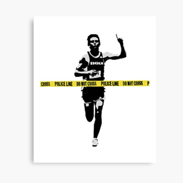 Banksy Marathon Runner Police Line Canvas Print