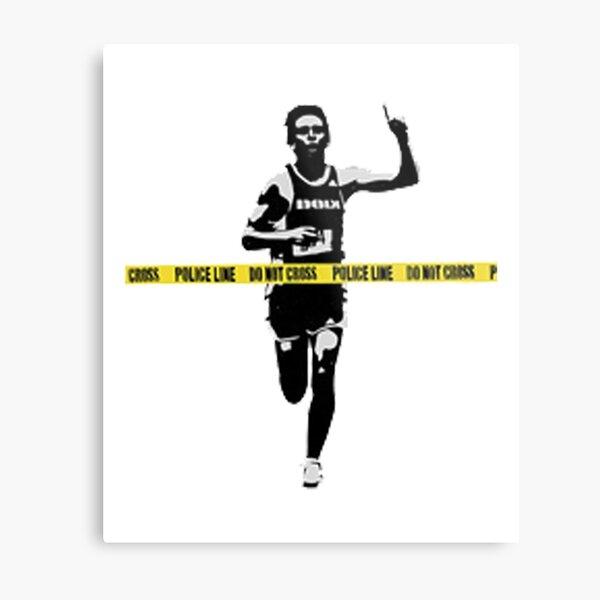 Banksy Marathon Runner Police Line Metal Print