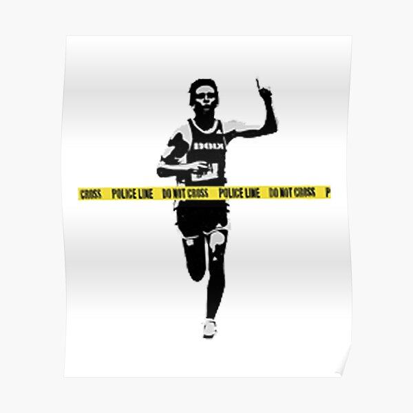 Banksy Marathon Runner Police Line Poster