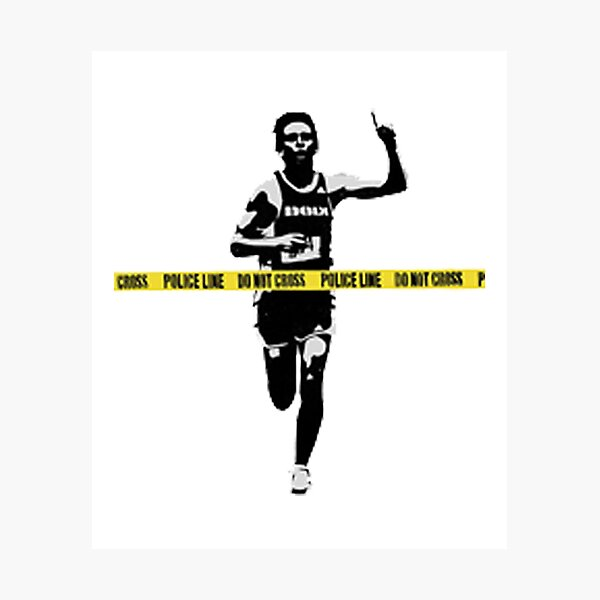 Banksy Marathon Runner Police Line Photographic Print