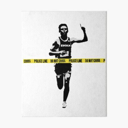 Banksy Marathon Runner Police Line Art Board Print