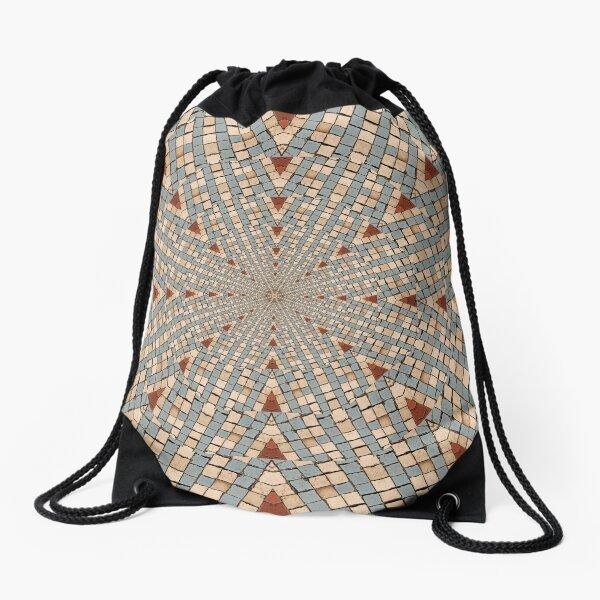 Kaleidoscope Red White and Blue Drawstring Bag