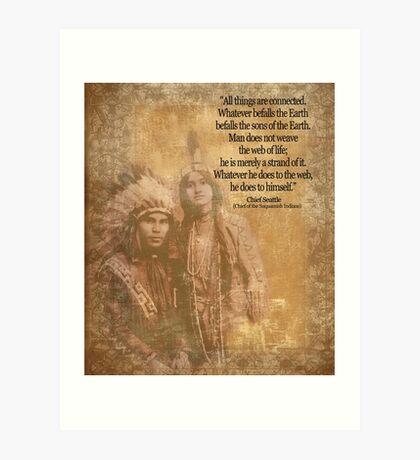 Ureinwohner-Indianerpaare Leiter Seattle-Zitat Kunstdruck