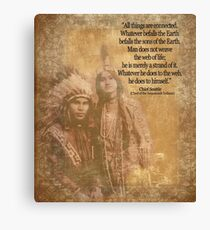 Native American Indian couple Chief Seattle quote Canvas Print