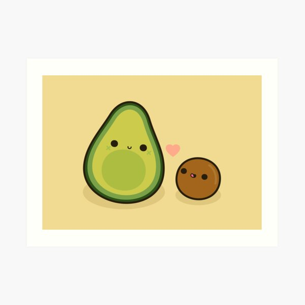 Cute avocado and stone Art Print