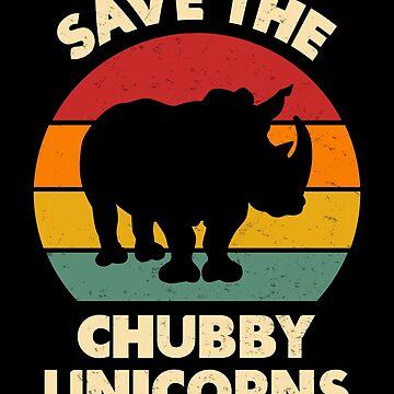Save The Chubby Unicorns Vintage Retro Rhino Animal by JapaneseInkArt