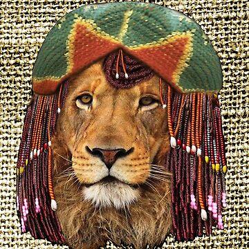 Rastafarian-wildlife lion humor design by NadineMay